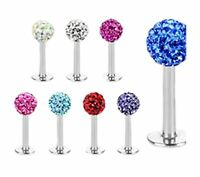 Crystal Shamballa Bar Labret Lip Helix Cartilage Tragus Ear Body Piercing