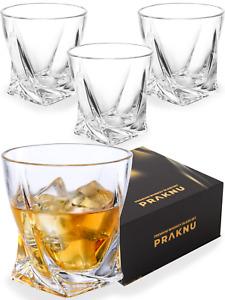 4 Whisky Gläser 270ml Twist Set Kristall Whiskey Trink Rum Glas Schliff Tumbler