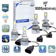 2Pair H7+ 9005 Combo LED Headlight Low High Beams Light Kit Bulbs 6000K