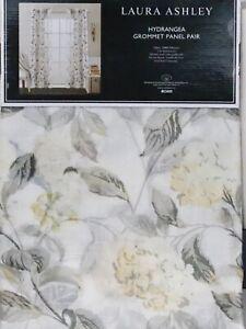 "Laura Ashley WINDOW CURTAIN PANEL PAIR 38x84"" yellow gray Hydrangea"