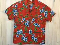 Vintage Hawaiian Mens XL Shirt Made In Hawaii Aloha Tiki Palm Tree Camp D54