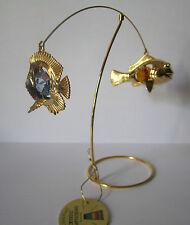 Schaukelbrett Fische mit Swarowski Kristallen Bestückt Gold Plattiert  CRYSTAL