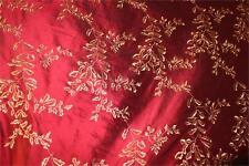 "Embroidered Silk Dupioni ~ Hollywood & Vine Collection ~ Garnet - 54"" wide"