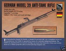 GERMAN MODEL 39 ANTI-TANK RIFLE 7.92mm (PzB39) WW2 Classic Firearms PHOTO CARD