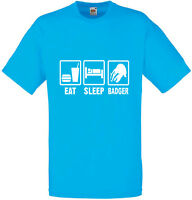 Eat Sleep Badgers inspired Mens Printed T Shirt New Casual Crew Neck Gents Tee