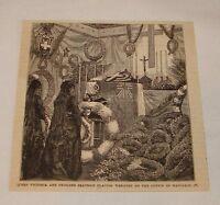 1879 magazine engraving~ QUEEN VICTORIA AT COFFIN OF NAPOLEON IV