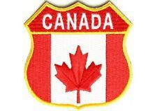 "(B7) CANADA SHIELD FLAG 2.75"" iron on patch (1349) Canadian Biker Vest"