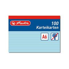 100 Karteikarte Karteikarten A6 liniert blau Herlitz