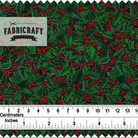 Christmas Fabric Green Holly by Rose & Hubble Vintage Print 100% cotton 1 metre
