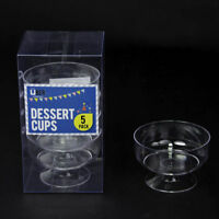 20 x Desert Cups Bowls Clear Plastic Cake Jelly Bulk Pack Party Dish