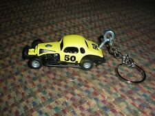 CHEVROLET MODIFIED COUPE DIRT TRACK RACE CAR DIECAST MODEL CAR KEYCHAIN YELLOW