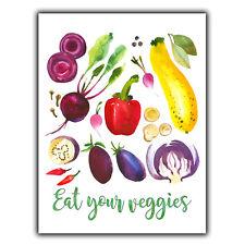 EAT YOUR VEGGIES vegetables METAL WALL PLAQUE Sign humorous pop art kitchen