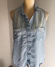 Cloth & Stone Womens Chambray Denim Sleeveless Blouse Top Blue Hidden Buttons M