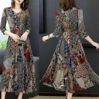 Women V-Neck Three Quarter Sleeve Long Dress Ladies Floral Print A-line Dress
