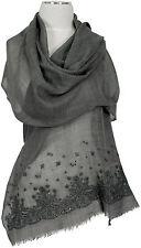 Schal, Grau bestickt stole  Wolle Seide wool silk embroidered grey écharpe gris