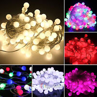 Outside Garden Lights String Fairy 10M 100 LED Globe Ball Party Christmas Garden