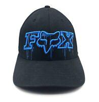 Fox Racing Motocross Hat Flexfit Black Blue Drip Size L / XL