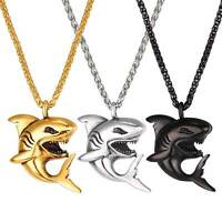 Punk Animal Jewelry Stainless Steel Domineering Mens Shark Pendant Necklace