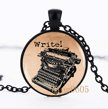 Old Typewriter photo Glass Dome black Chain Pendant Necklace wholesale