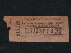"""[Collections] Tram Ticket Former """" 2 Sections """" - Ticket Railway Paris Ptmc"""