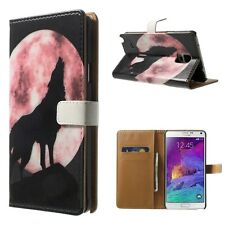 Wolf Moon Leather Wallet Holder Card Case Stand Cover Skin For Various Phone XH