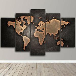 Rusty World Map 5 Piece Canvas Wall Art Abstract Print Home Decor