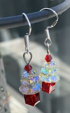 Christmas Crystal Earrings Sparkle Bling 925 Silver Posts Red Silver