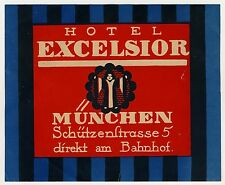 "Hotel Excelsior Monaco munich germany * OLD LUGGAGE LABEL VALIGIA Adesivo ""XL"""