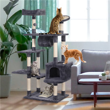 62in Cat Tree Tower Cat Activity Kitten Play House with Scratching Post &Tunnel