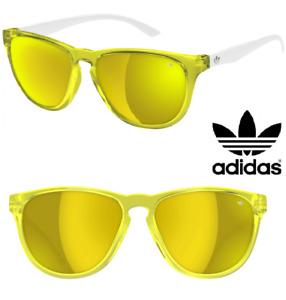 Adidas SONNENBRILLE GOLD VERSPIEGELT NEON GELB WEISS aH56 San Diego BRILLE ETUI