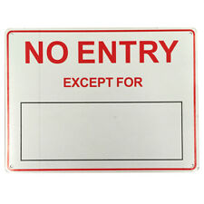 2x WARNING SIGN NOTICES Warning NO ENTRY EXCEPT VEHICLE DIY NO. 225x300mm Metal