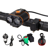 10000LM MTB LED Front Head Light Bike Cycling Lamp Rechargeable Battery Pack Set