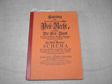 , Einleitung zum Universal Europaeischen Post-Recht, Preßburg 1749.Reprint 1995