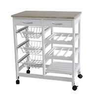 G4RCE Rolling Kitchen Cart Island Portable Serving Utility Trolley Wood Drawers