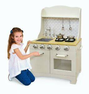 Deluxe Kids Toy Kitchen with Sounds  Large Wooden Cooker And Accessories