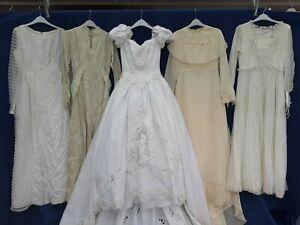 JOBLOT x 5 VINTAGE WEDDING DRESSES .PARTY PROM FANCY DRESS SHOP hire shop #A1