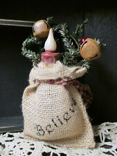 Burlap Bag Wall Hanging/Shelf Sitter w/ Led Candle & Pip Berries - Believe
