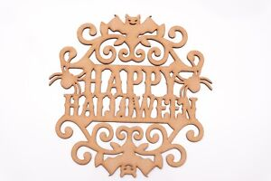 Halloween Wooden MDF Plaque - Small HAPPY HALLOWEEN in Bats and Spiders frame