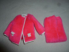 VINTAGE BARBIE OUTFIT CLOTHES MATTEL PINK FUR COAT SKIRT 1968 1813 SNUG FUZZ >