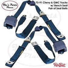 RetroBelt Dark Blue 3-Point Front Bench Seat Belts w/Retractors-PAIR 73-91Trucks