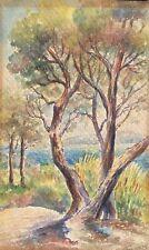 Aquarelle Paysage de Provence signée Trucousse ? fin XIXe début XXe Méditerranée