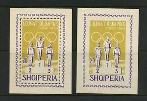 E650  Albania  1964  Olympics   Perf & Imperf sheets      MNH