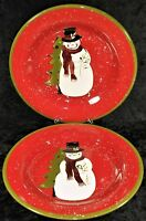 """Gibson 11.5"""" Christmas Holiday Joy Snowman Dinner Plate Red Green Rim - Lot of 2"""