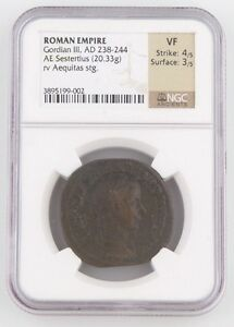238-244 AD Roman Imperial AE Sestertius Coin VF NGC Gordian III Aequitas S-8699