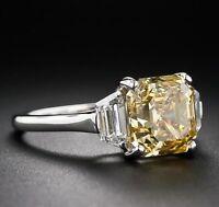 3.75Ct Yellow Asscher Cut Diamond Fancy Engagement Ring Certified 14K White Gold