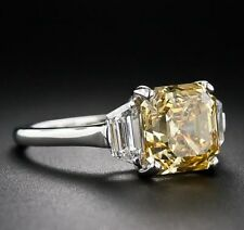 Certified 3.50CT Yellow Asscher Cut Diamond Fancy Engagement Ring 14K White Gold