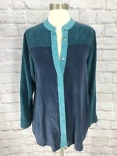 Soft Surroundings Xs Tunic Top Silk Button Up Colorblock Blue Long Sleeve EUC