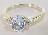 Ladies 18k White Gold 1 Ct Aquamarine & Diamond Three Stone Estate Ring