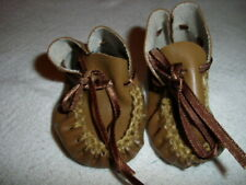 """2-3/4"""" Brown Moccasin Shoes American Girl 18"""" Dolls and Berenguer 14"""" La Newborn"""