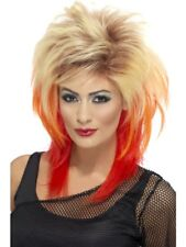 Blonde & Red 80's Mullet Wig Adult Womens Smiffys Fancy Dress Costume